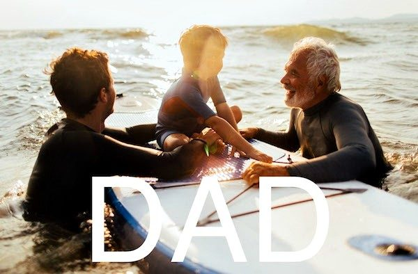 Happy Father's Day - Family on surfboard