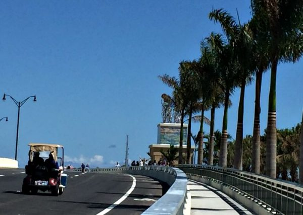 Crosstown Parkway new bridge with monuments and Guy Harvey artwork