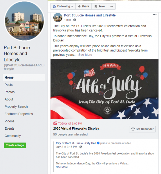 July 4th Virtual Fireworks Celebration Post on Port St Lucie Homes and Lifestyle