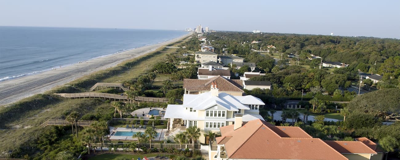 Aerial showing oceanfront homes