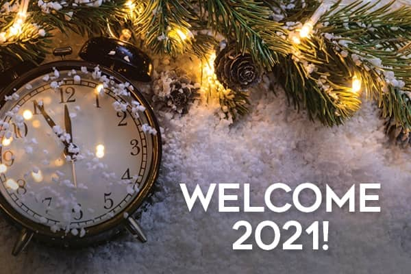Happy New Year and Welcome 2021 Clock at midnght