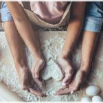 A mother's day story showing mother and daughter baking